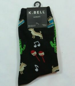 Women's Chihuahua Black Crew K Bell  Cotton Blend Socks Size 9-11 Sombrero