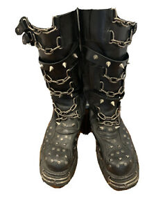 NEW ROCK GOTH PUNK BOOTS WITH SPIKES AND CHAINS (11/11.5M)