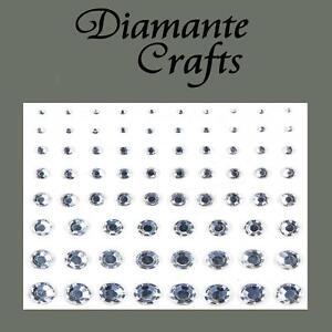 1mm - 8mm Clear Diamante Self Adhesive Rhinestone Body Nail  Gems