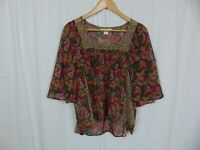 STARING AT STARS Urban Outfitters Women's Sheer Floral Blouse Square Neckline XS