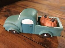 Country Primitive Resin Blossom Bucket Blue Teal Truck with Pumpkins