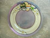 Vintage MADE IN JAPAN Hand Painted Bird & Cherry Blossoms Blue Lusterware Plate