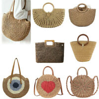 Woven Hollowed Shoulder Handbags Women Totes Summer Beach Knitted Top-handle Bag