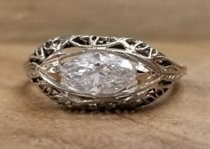 0.70ct 14k white gold filigree engagement ring natural marquise Diamond SI1-H