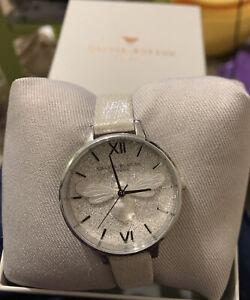 New OLIVIA BURTON Women's Ladies Grey & Silver Glitter Sparkly 3D Bee Watch 34mm