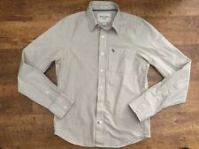A&F Abercrombie & Fitch Muscle Fit Camisa a Rayas Blanco Y Beige (M) Medium