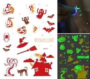 Halloween Glow in the Dark Tattoos Kids Trick Treat Costume Pumpkin Ghost Bat