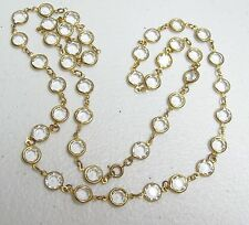 Large Vintage BEZEL Set Glass Necklace