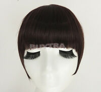 FadClassic Fringe Clip In On Bangs Straight Hair brown black WIG faux hair FO
