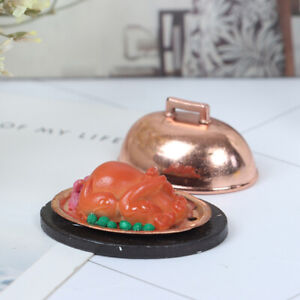 Dollhouse Miniature Food Christmas Turkey With Lid Pretend Play Toy Accessor.bu