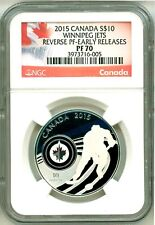 2015 S$10 Canada NHL Hockey Winnipeg Jets Reverse Proof ER NGC PF70