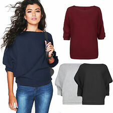 Women Ribbed Batwing Tops Knit Sweater Jumper Loose T Shirt Pullover Sweatshirt