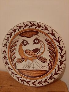 Vintage Handmade Wall Hanging Dish Bowl plate Charger Hand Painted Signed Birds