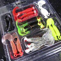17PCS Soft Worm Fishing Baits Lure Lead Jig Head Hook Silicone Fishing Tackle