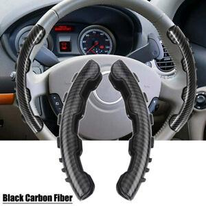 2x Black Carbon Fiber Non-Slip Steering Wheel Booster Cover Trim Car Accessories