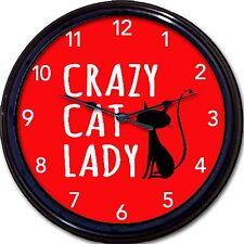"Crazy Cat Lady Wall Clock Cats Kitten Kittens Cartoon Feline New 10"""