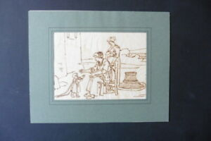 FRENCH SCHOOL 18thC - DOMESTIC SCENE BY LOUIS LAGRENEE - INK DRAWING