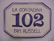 cm. 22 x 17 Numero civico personalizzato, targa ceramica, mattonella per esterno