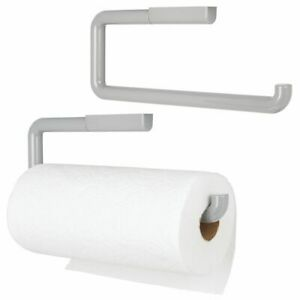mDesign Plastic Wall Mount/Under Cabinets Paper Towel Holder - 2 Pack Light Gray