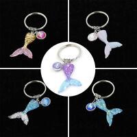 Women's Mermaid Fish Scale Tail Pendant Keychain Key Ring Handbag Purse Decor
