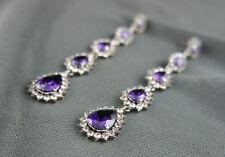18k white Gold GF purple dangle Diamond with Swarovski crystals long earrings