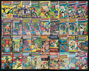 Justice League of America comic lot of 36 (DC 1964) Silver to Bronze Age ~ VGF