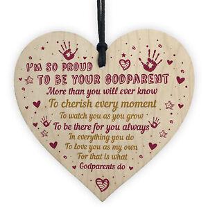 Gift For Goddaughter Godson For Birthday Wooden Heart Godparent Gifts Keepsake