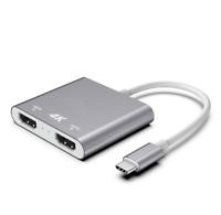 1x2 USB-C Thunderbolt 3 Type-C HDMI Adapter Video Splitter 4K for Surface Book