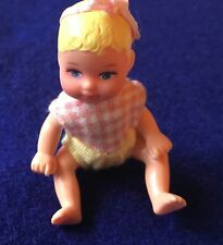 "Dollhouse Miniature 3"" Poseable Baby Doll Molded Blonde Hair Pink Headband"