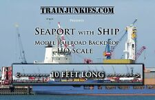 "TrainJunkies HO Scale ""Seaport with Ship"" Model Railroad Backdrop 18x120"""