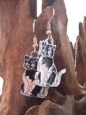 Cat Earrings, Black and White Kitties furry friends
