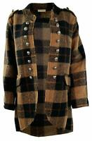 Womens Italian Checked High Low Wool Mix Lagenlook Military Blazer Trench Coat