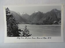 VINTAGE RPPC HOLY CROSS MOUNTAIN FROM FRASER RIVER AT HOPE B.C. CANADA 1954
