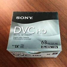 5 Pack Sony HD DVM63HDR Tapes for HVR V1U Z7U Z7 Z5U A1U HD Camcorders