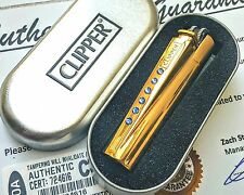 24ct Gold Plated Metal Clipper Lighter Sapphire Swarovski Crystals 24k Gift Tin