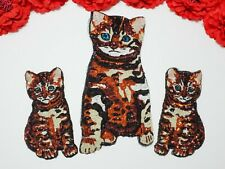 3pc/set. Cat patches, Fashion Sequin patches, Animal patches, Sew on