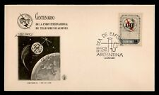 DR WHO 1965 ARGENTINA FDC UIT/ITU CENTENARY SPACE CACHET  g10570