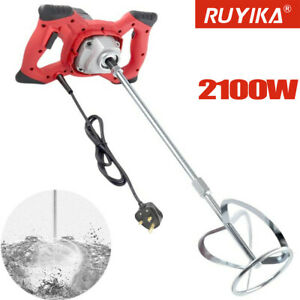 2100W Electric Plaster Paddle Mixer Drill Mortar Cement Paint Stirrer Whisk 240V