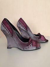 Casadei Grey/Plum Velvet Wedges - Size UK 4 / 37