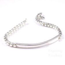 Personalised Ladies Silver Plated Bar Bracelet Birthday Gift. FREE engraving