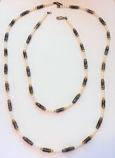 Vintage Pearl and Balinese Bead 925 Sterling Silver & Gold Accents 2 Strand Set