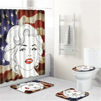 4PCS Marilyn Monroe Bathroom Print Anti-Slip Absorbent Bath Mat Rug Set Contour