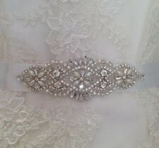 Bridal Wedding Dress Sash Silver Rhinestone Crystal Pearl Encrusted Applique