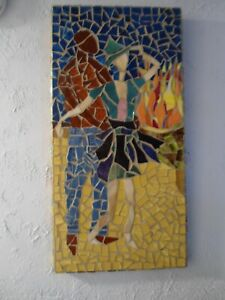 """Stained Glass Mosaic Picture / Piece Made /  """" Beach Fire Dance"""""""