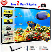 Portable Foldable Projector Screen 3D 16:9 HD 4K Home Theater Outdoor 120 Inch