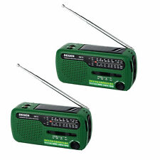 2X DEGEN DE13 FM MW SW Crank Dynamo Solar Emergency Radio World Receiver LED Hot