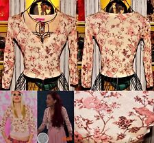 Betsey Johnson RARE Sweater SKULL Pink BIRD ROSE Floral CROP Toile CARDIGAN XS 2