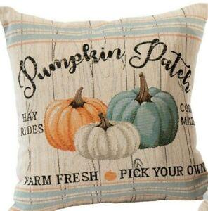 "Pumpkin Patch Farmhouse Harvest Throw Pillow 17"" x 17"" USA"