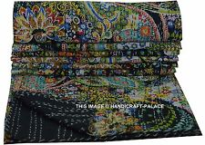 Black Paisley Quilt Indian Kantha Bedspread Throw Cotton Bedding Blanket Gudri