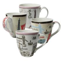 Set of Four (4) Assorted Paris London Design 16 oz Coffee Mugs IG13519 [A... New